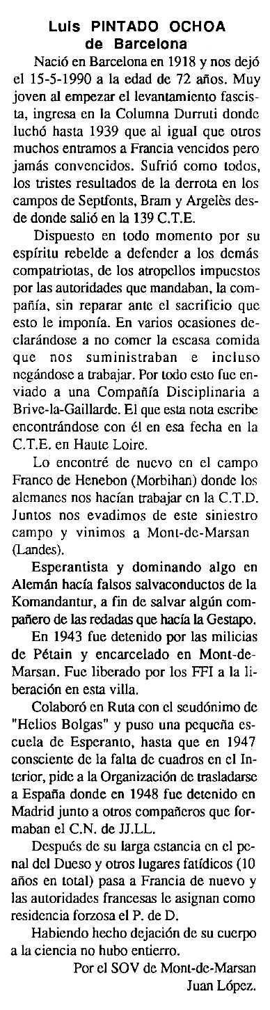 """Necrològica de Luis Pintado Ochoa apareguda en el periòdic tolosà """"Cenit"""" del 15 de gener de 1991"""