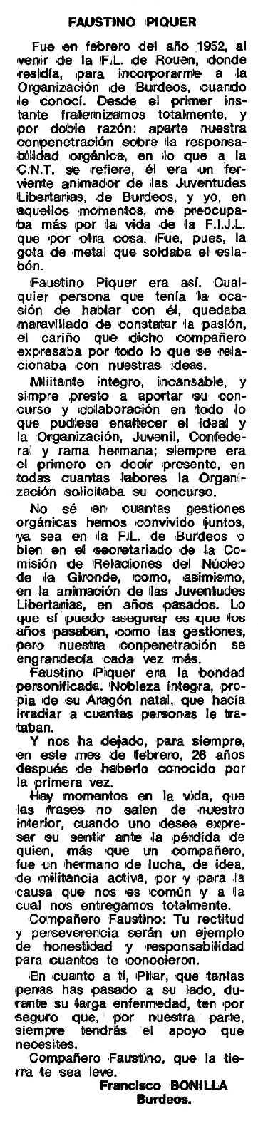 """Necrològica de Faustino Piquer Nicolau apareguda en el periòdic tolosà """"Espoir"""" del 13 de març de 1978"""
