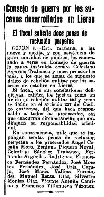 """Notícia sobre el judici de Benigno Piquero Noval i altres companys apareguda en el diari """"El Heraldo de Madrid"""" del 9 de novembre de 1935"""