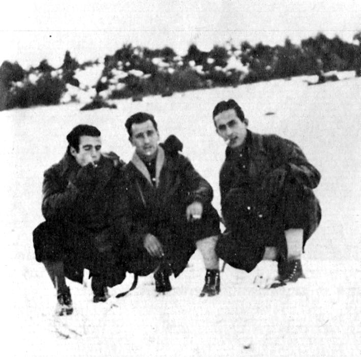 D'esquerra a dreta: Enrique Martínez, Facerías i Celedonio García, membres de l'MLR (Pirineus, gener de 1948)