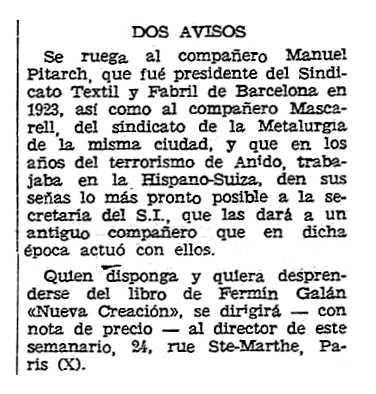 """Notícia sobre Manuel Pitarch Llorca apareguda en el periòdic parisenc """"Solidaridad Obrera"""" del 23 de febrero de 1961"""