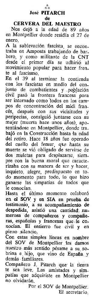 """Necrològica de Josep Pitarch Beltran apareguda en el periòdic tolosà """"Cenit"""" del 27 de març de 1990"""