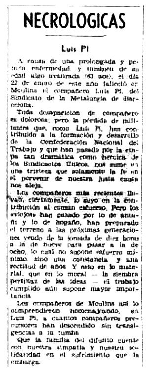 """Necrològica de Lluís Pi Trenc apareguda en el periòdic tolosà """"CNT"""" del 22 de març de 1953"""