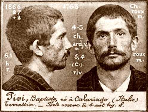 Foto policíaca de Battista Pivi (ca. 1894)