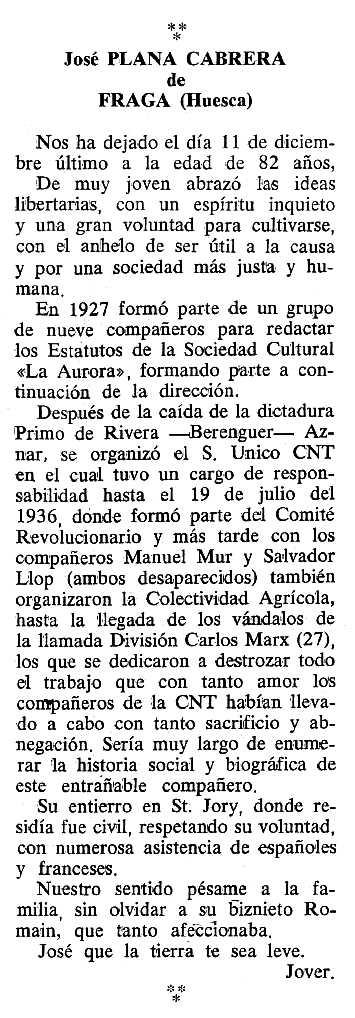 """Necrològica de Josep Plana Cabrera apareguda en el periòdic tolosà """"Cenit"""" del 6 de març de 1990"""