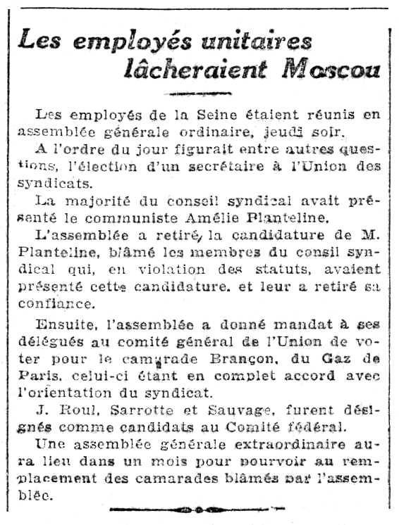 """Notícia sobre Amélie Planteline apareguda en el diari parisenc """"Le Rappel"""" del 24 de juny de 1923"""