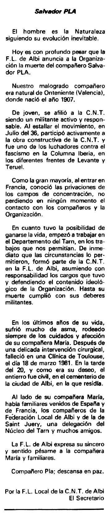"""Necrològica de Salvador Pla Paula apareguda en el periòdic tolosà """"Espoir"""" del 17 de maig de 1981"""