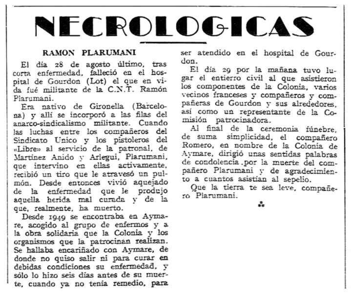 """Necrológica de Ramon Plarromaní Mas aparecida en el periódico tolosano """"CNT"""" del 13 de octubre de 1957"""