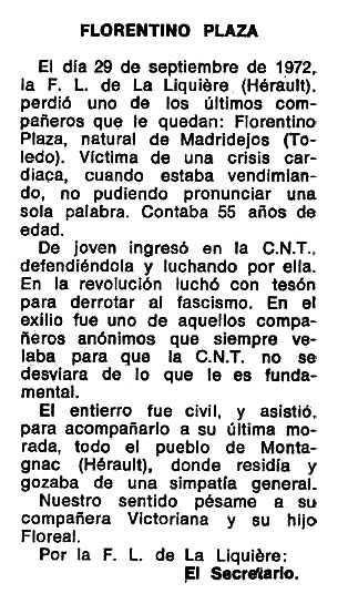 """Necrològica de Florentino Plaza apareguda en el periòdic tolosà """"Espoir"""" del 7 de gener de 1973"""