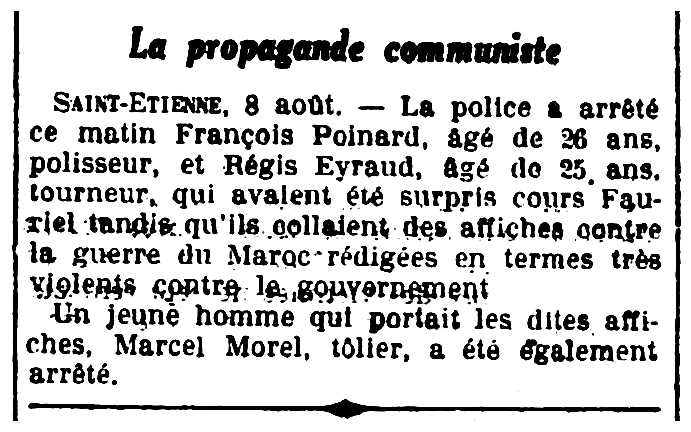 """Notícia de la detenció de François Poinard apareguda en el diari de Rennes """"L'Ouest-Éclair"""" del 9 d'agost de 1925"""