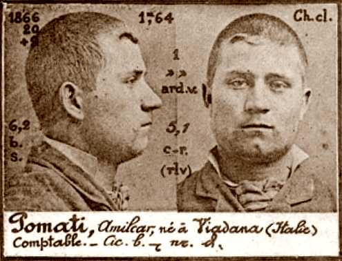 Foto policíaca d'Amilcar Pomati (ca. 1894)
