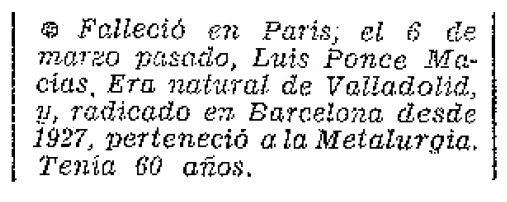 """Nota necrològica de Luis Ponce Macías apareguda en el periòdic parisenc """"Frente Libertario"""" d'abril de 1971"""