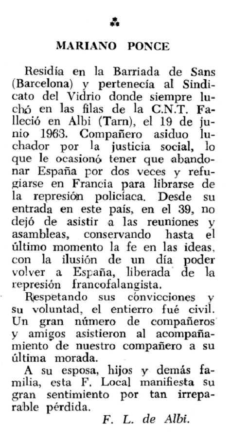 """Necrològica de Mariano Ponce Carmona apareguda en el periòdic tolosà """"Espoir"""" del 28 de juliol de 1963"""