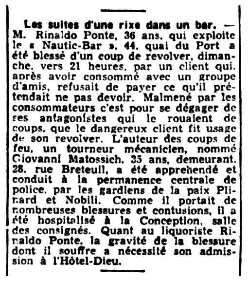 """Notícia sobre l'agressió a Rinaldo Ponte apareguda en el diari marsellès """"Le Petit Marseillais"""" del 10 de maig de 1938"""