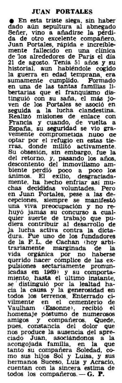 """Necrològica de Juan Portales Casamar publicada en el periòdic parisenc """"Frente Libertario"""" de setembre de 1973"""