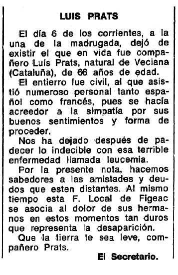 "Necrològica de Lluís Prats Roca apareguda en el periòdic tolosà ""Espoir"" del 8 de maig de 1977"