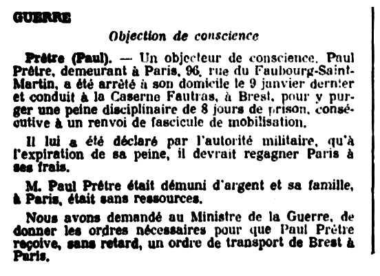"""Notícia d'una de les detencions de Paul Prêtre apareguda en el periòdic parisenc """"Le Cahiers des Droits de l'Homme"""" del 30 de gener de 1934"""