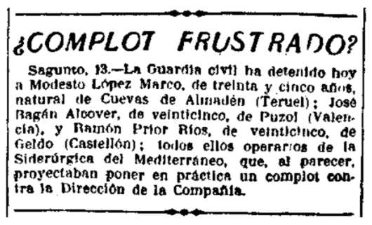 """Notícia de la detenció de Ramón Prior Ríos apareguda en el periòdic madrileny """"La Libertad"""" del 14 de juny de 1924"""