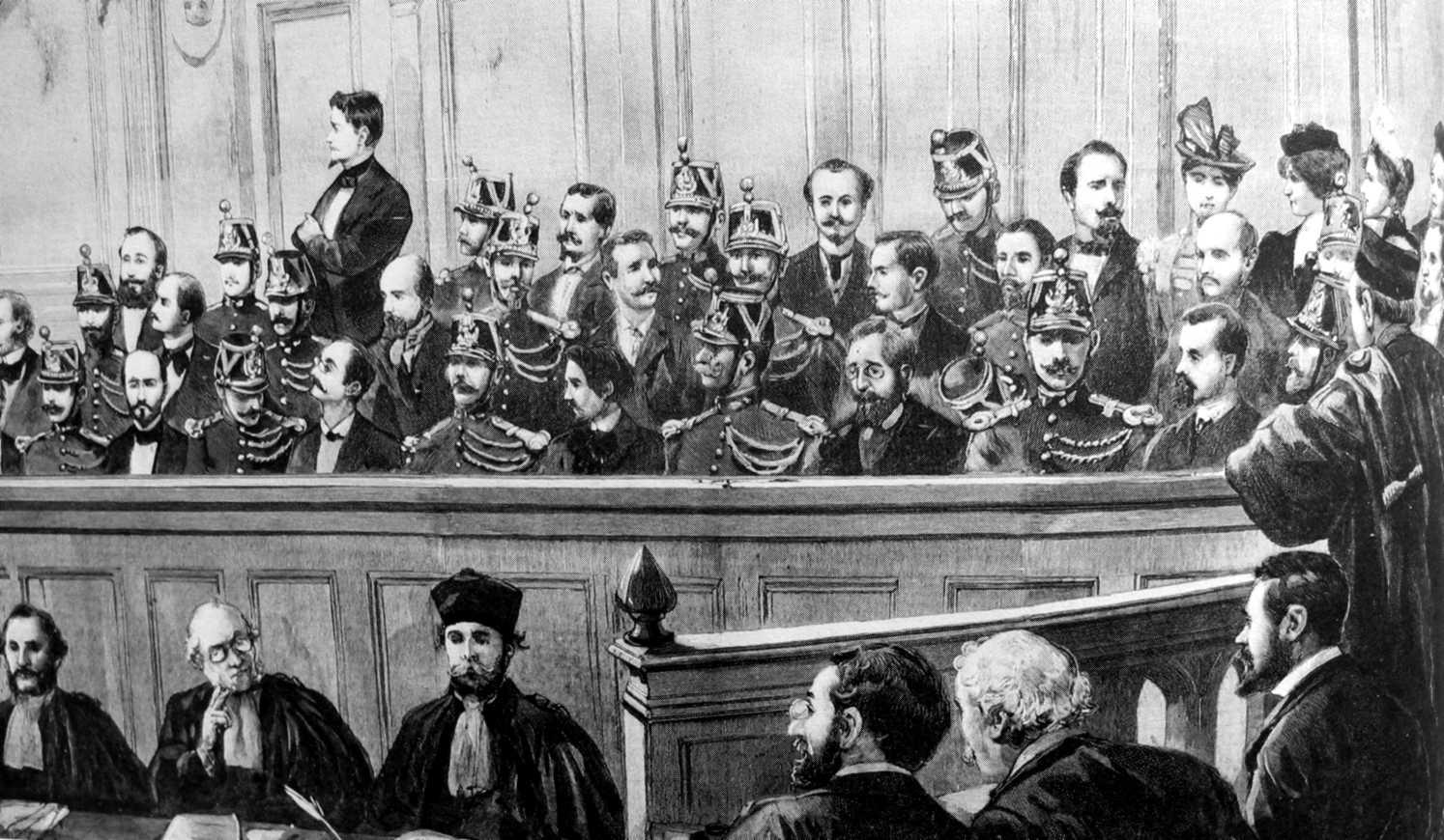 """Banquillo del """"Proceso de los Treinta"""" (""""Le Jorunal Illustré, 19 de agosto de 1894)"""