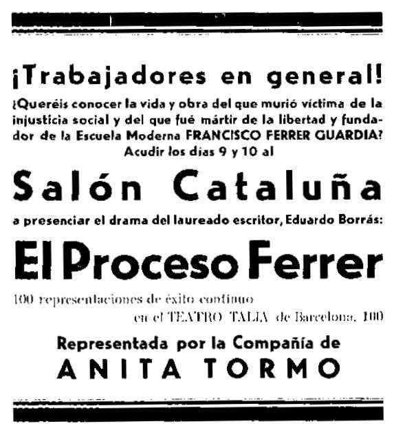 """Propaganda de les representacions apareguda en el periòdic de Terrassa """"Brazo y Cerebro"""" del 9 de gener de 1932"""
