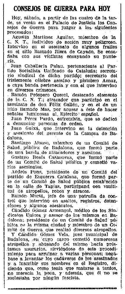 """Notícia del consell de guerra contra Ramon Próspero Querol i altres companys apareguda en el diari barceloní """"La Vanguardia"""" del 18 de febrer de 1939"""