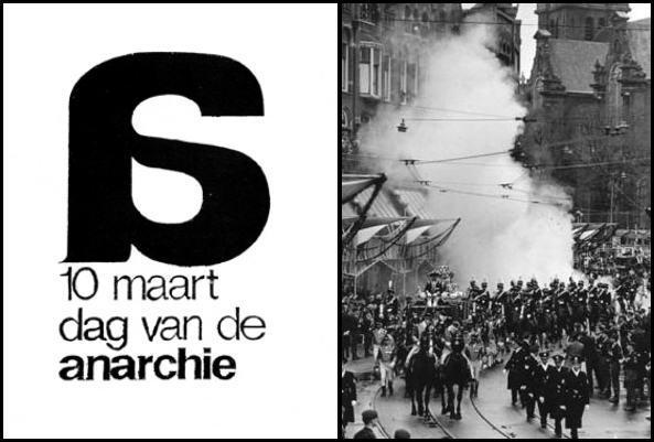 Cartell del «Dag van de Anarchie», dissenyat per Willem, i una instantània de l'esdeveniment