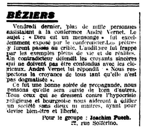 """Notícia orgànica de Joachim Puech apareguda en el periòdic parisenc """"Le Libertaire"""" del 15 d'octubre de 1926"""