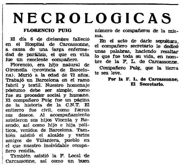 """Necrològica de Florenci Puig Simon apareguda en el periòdic tolosà """"Espoir"""" del 16 de febrer de 1969"""