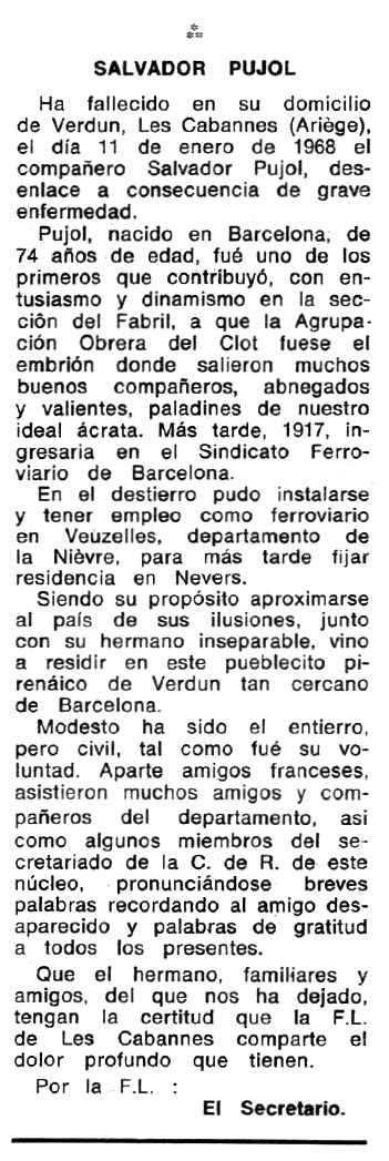 """Necrològica de Salvador Pujol apareguda en el periòdic tolosà """"Espoir"""" del 14 d'abril de 1968"""