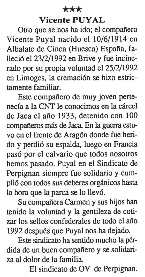 "Necrològica de Vicente Puyal publicada en el periòdic parisenc ""Cenit"" del 14 d'abril de 1992"