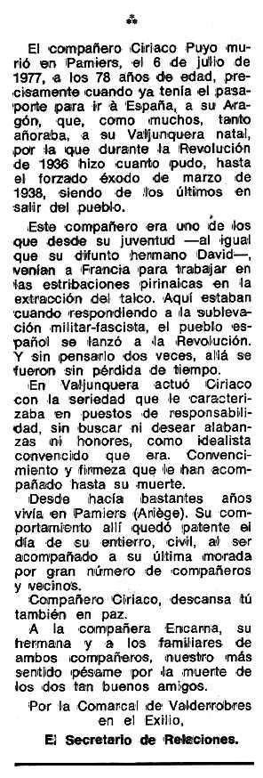 """Necrològica de Ciriaco Puyo Manero apareguda en el periòdic tolosà """"Espoir"""" del 19 d'octubre de 1969"""