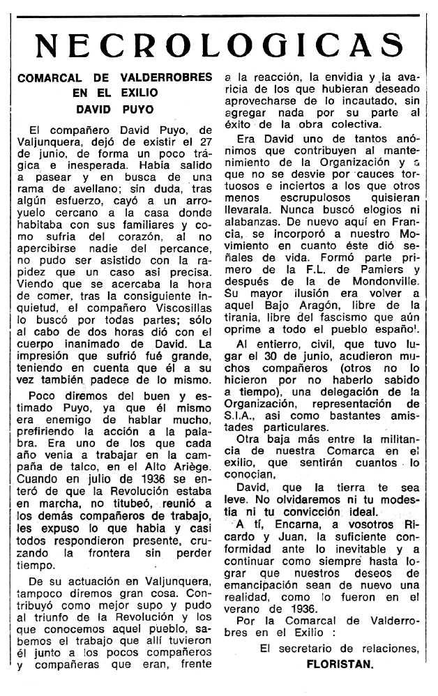 """Necrològica de David Puyo Manero apareguda en el periòdic tolosà """"Espoir"""" del 2 de novembre de 1969"""