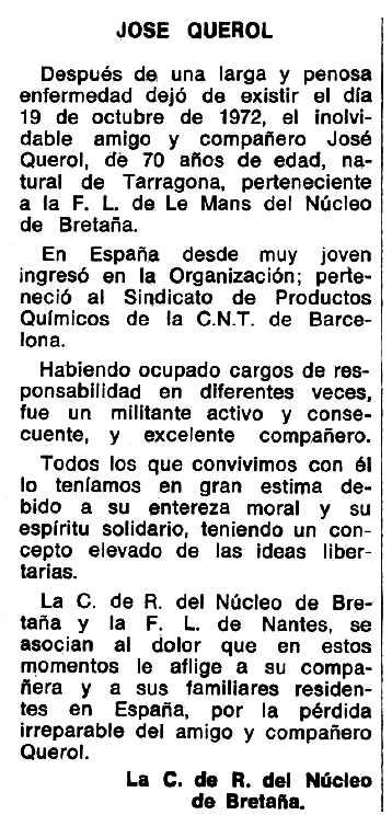 """Necrològica de Josep Querol apareguda en el periòdic tolosà """"Espoir"""" del 4 de febrer de 1973"""
