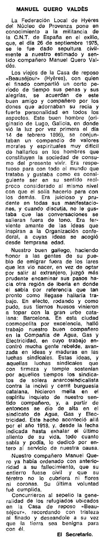 "Necrològica de Manuel Quero Valdés apareguda en el periòdic tolosà ""Espoir"" del 15 de febrer de 1976"
