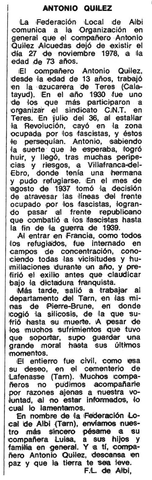 """Necrològica d'Antonio Quílez Alcuedas apareguda en el periòdic tolosà """"Espoir"""" del 21 de març de 1979"""