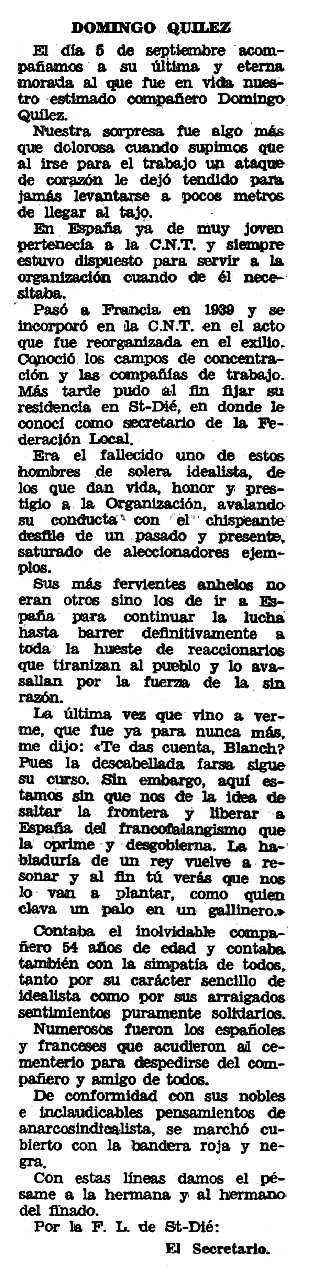 """Necrològica de Domingo Quílez apareguda en el periòdic tolosà """"Espoir"""" del 21 de desembre de 1969"""