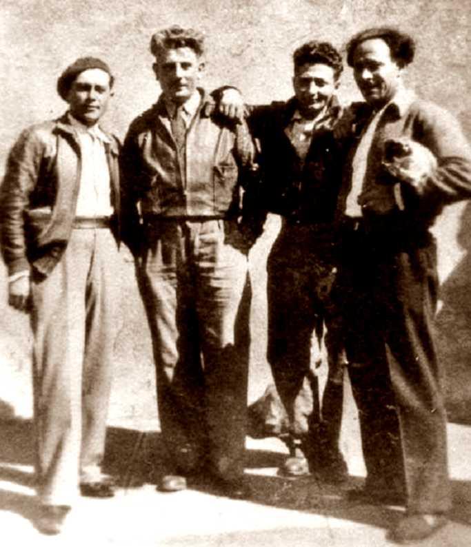 """Milicians italians de la Columna Ascaso. D'esquerra a dreta: """"Gaby"""", Emilio Canzi, Vindice Rabitti i Pio Turroni"""