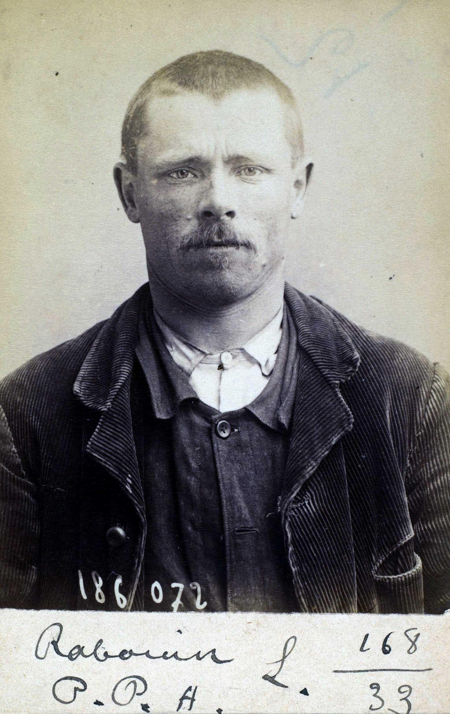 Foto policíaca de Paul Rabouin (23 d'abril de 1892)