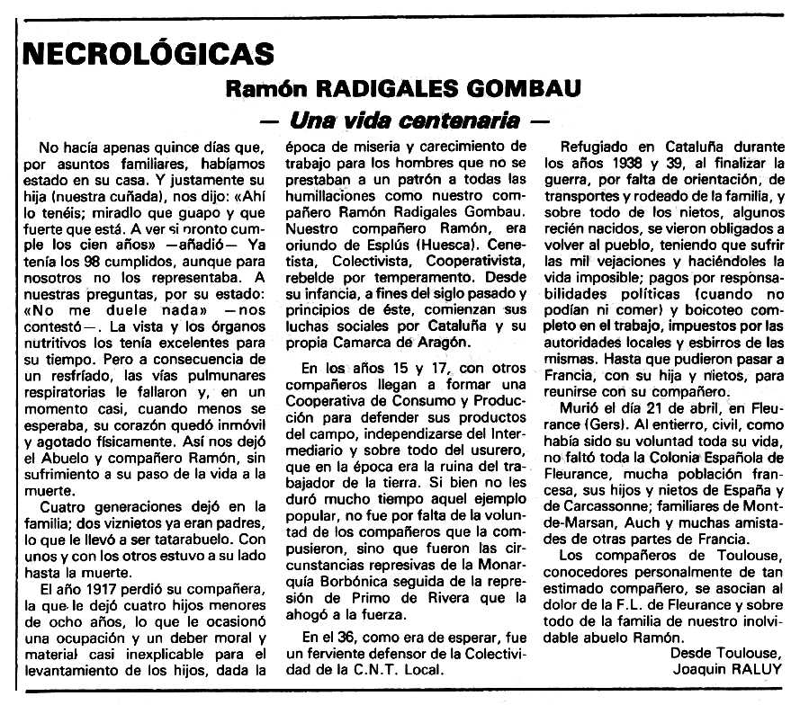 """Necrològica de Ramón Radigales Gombau apareguda en el periòdic tolosà """"Espoir"""" del 12 de juliol de 1981"""