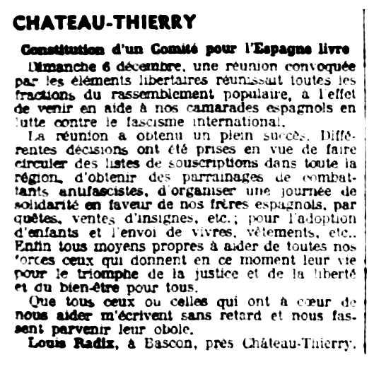 """Notícia sobre la constitució del «Comitè per l'Espanya Lliure» apareguda en el periòdic parisenc """"Le Libertaire"""" de l'11 de desembre de 1936"""