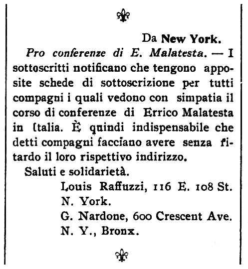 """Notícia sobre l'organització de la gira propagandística de Malatesta organitzada per Luigi Raffuzzi apareguda en el periòdic de Barre (Vermont, EUA) """"Cronaca Sovversiva"""" del 9 d'agost de 1913"""