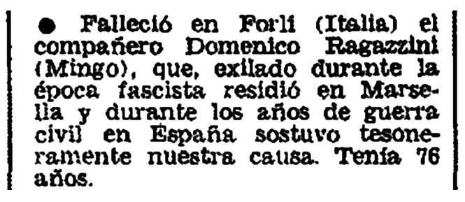 """Necrològica de Domenico Ragazzini apareguda en el periòdic parisenc """"Frente Libertario"""" d'abril de 1976"""