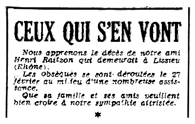 """Nota necrològica d'Henri Raitzon apareguda en el periòdic parisenc """"Le Libertaire"""" del 4 de març de 1948"""