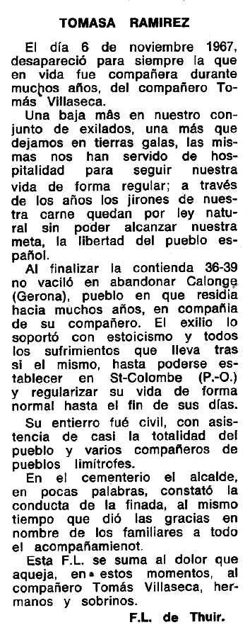"""Necrològica de Tomasa Ramírez apareguda en el periòdic tolosà """"Espoir"""" del 14 d'abril de 1968"""
