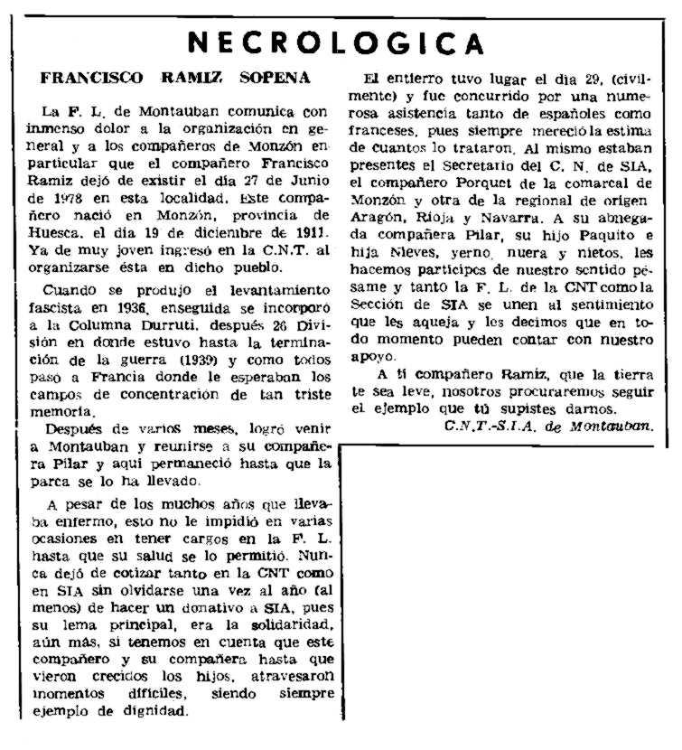 """Necrològica de Francisco Ramiz Sopena apareguda en el periòdic parisenc """"Le Combat Syndicaliste"""" del 7 de setembe de 1978"""