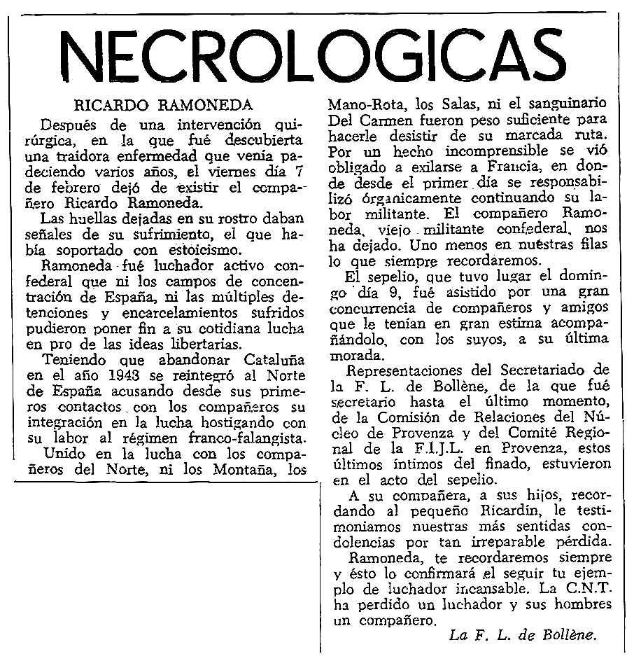 """Necrològica de Ricardo Ramoneda García apareguda en el periòdic tolosà """"CNT"""" del 13 d'abril de 1958"""