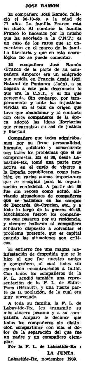 """Necrològica de José Ramón García apareguda en el periòdic tolosà """"Espoir"""" de l'11 de gener de 1970"""