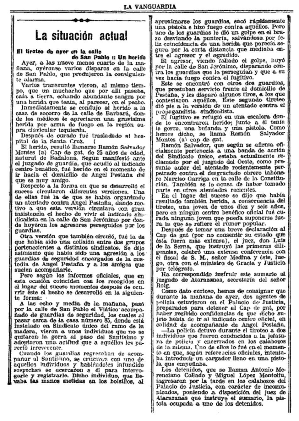 """Notícia del tiroteig publicada en """"La Vanguardia"""" del 15 d'abril de 1923"""