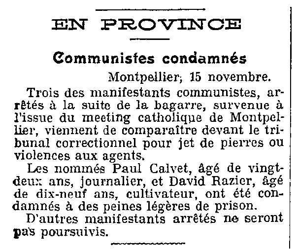 "Notícia de la condemna de David Razier apareguda en el diari parisenc ""Le Gaulois"" del 17 de novembre de 1926"