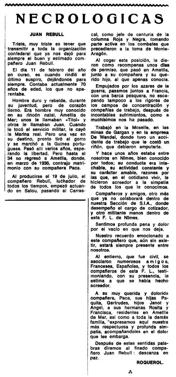 "Necrològica de Joan Rebull apareguda en el periòdic tolosà ""Espoir"" del 28 de maig de 1972"